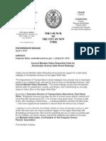 CM Helen Rosenthal Calls for Street Redesign for Amsterdam Avenue (April 9, 2015)