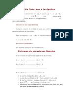 Ecuación Lineal Con n Incógnitas