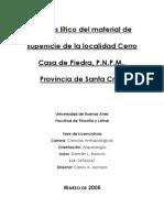 Análisis lítico del material de superficie de la localidad Cerro Casa de Piedra, Parque Nacional Perito Moreno, Provincia de Santa Cruz (ARGENTINA).