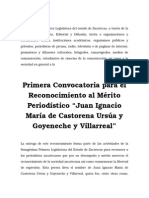 """Primera Convocatoria para el Reconocimiento al Mérito Periodístico """"Juan Ignacio María de Castorena Ursúa y Goyeneche y Villarreal"""""""