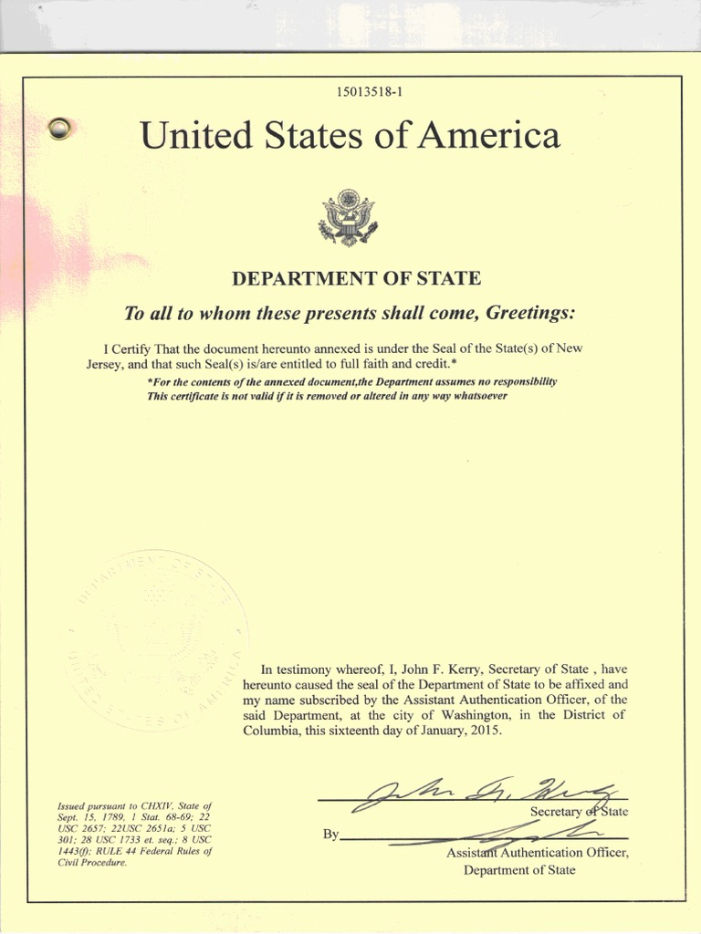 birth certificate authenticated document
