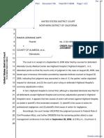 Sapp v. County of Alameda et al - Document No. 106