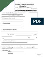 Tutor Visiting Faculty Registration Form