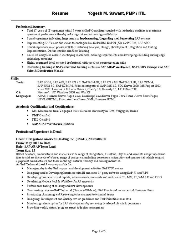 SAP Resume template | Sap Se | Siemens