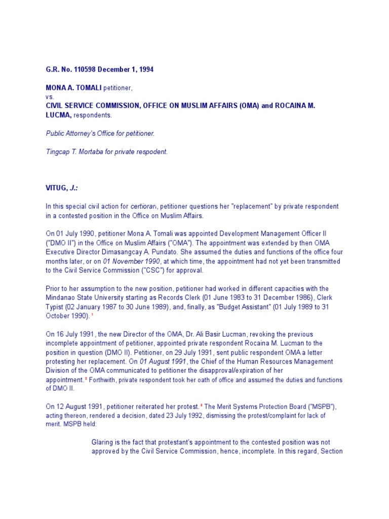 Tomali v  Csc   Civil Service   U S  Securities And Exchange