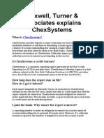 Maxwell, Turner & Associates Explains ChexSystems