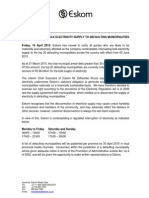 Eskom Media Statement - Bulk Electricity Interruptions - 10 April 2015
