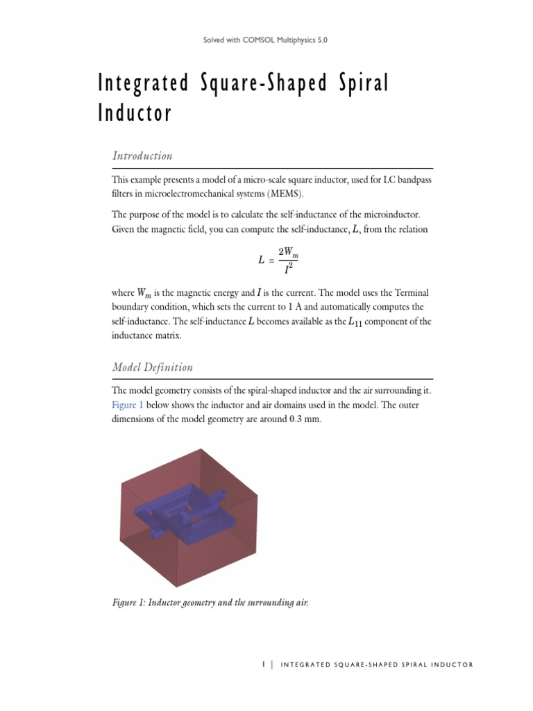 Models acdc Spiral Inductor using comsol | Inductancia