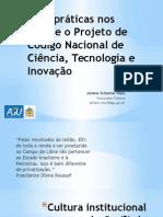 Boas práticas nos NITs e o Projeto de Código Nacional de Ciência, Tecnologia e Inovação