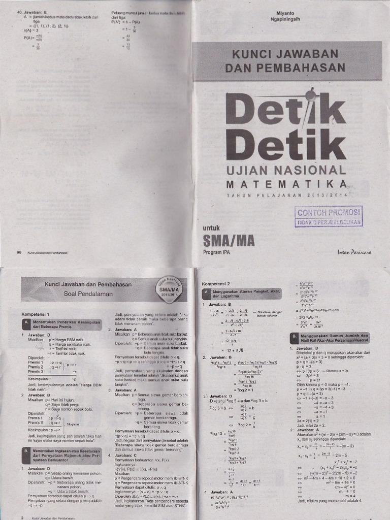 Pembahasan Buku Detik Detik Un Matematika Untuk Program Ipa