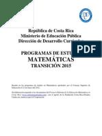 Plan Transición Matemática MEP 2015