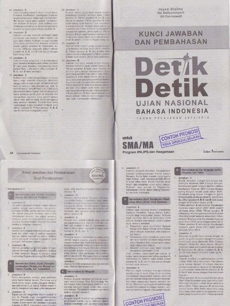 Pembahasan Buku Detik Detik Un Bahasa Indonesia Untuk Program Ipa Ips Dan Keagamaan