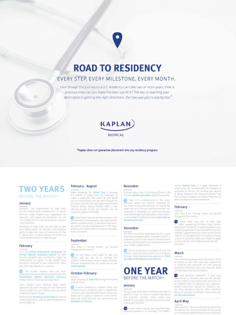 Road to Residency Calendar | United States Medical Licensing
