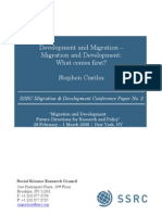 Castles 2008 Migration and Development What First