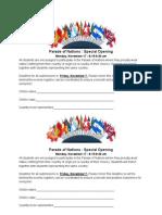 International Week Parade of Nations Form