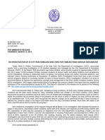 Department of Investigation Report on Homeless Shelters