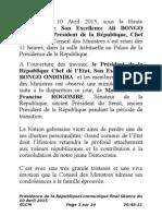Communiqué du Conseil des Ministres du 10 Avril 2015