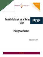 Enquête Nationale Sur Le Secteur Informel 2007. Principaux Résultats (Présentation) (Version Française)