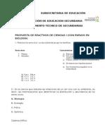 Propuesta de Reactivos de Ciencias i 2012