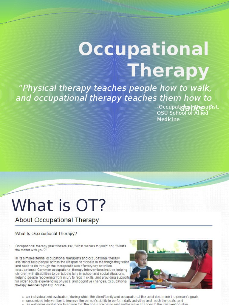 Occupational Therapy Overview Pip Occupational Therapy
