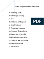 12 Educational Emphases in the Curriculum