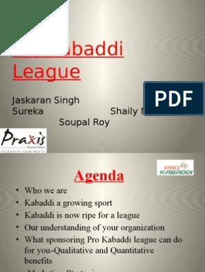 Sponsorship proposal for Pro-Kabaddi League   Sponsor