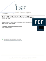 Daniel Goh 2010 State and Social Christianity in Post-Colonial Sg (Sojourn)