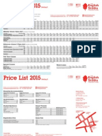 English Studio Price List 2015