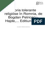 Istoria Tolerantei Religioase in Romania