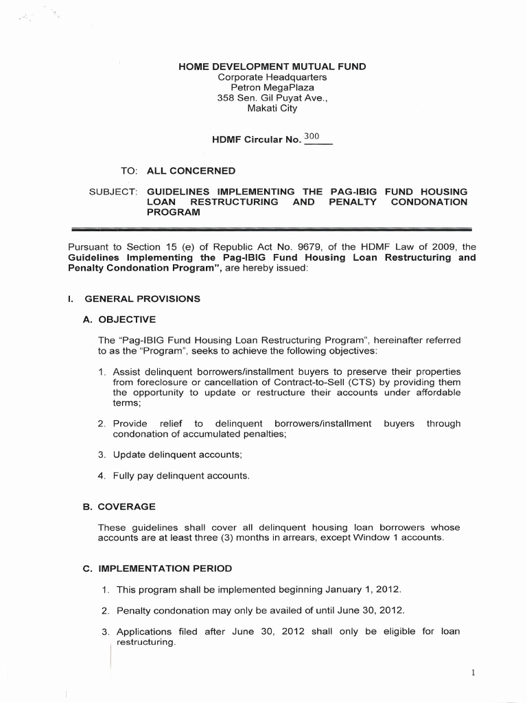 Circular no 300 guidelines implementing the pag ibig fund housing circular no 300 guidelines implementing the pag ibig fund housing loan restructuring and penalty condonation program loans foreclosure spiritdancerdesigns Image collections