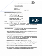 2005 M-NCPPC Parkland Middle School Modernization & Belt Reopening Memo