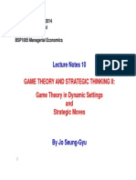 BSP1005 Lecture Notes 10 - Game Theory II- Strategic Thinking in Dynamic Games