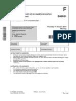 Past Exam Paper [B1C1P1] Jan 2010 Foundation