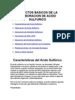 ASPECTOS BASICOS DE LA ELABORACION DE ACIDO SULFURICO