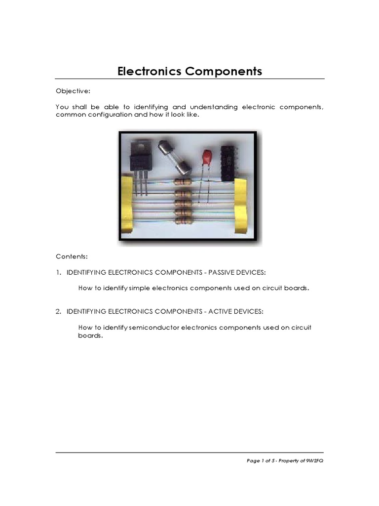 Electronics Components.pdf | Passivity (Engineering) | Electronic ...