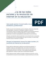 Importancia de las redes sociales y la revolución de Internet en la educacion