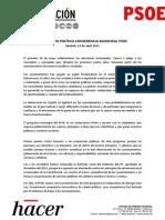 Resolución política de la Conferencia Municipal del PSOE (PDF)