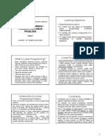 Lecture 3 Linear Programming I - Formulation Six Slides