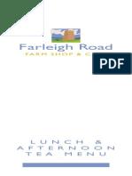 Farleigh Road Lunch Menu
