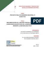 Mejora de la productividad en la empresa fabricadora de estructuras metalicas para mototaxi