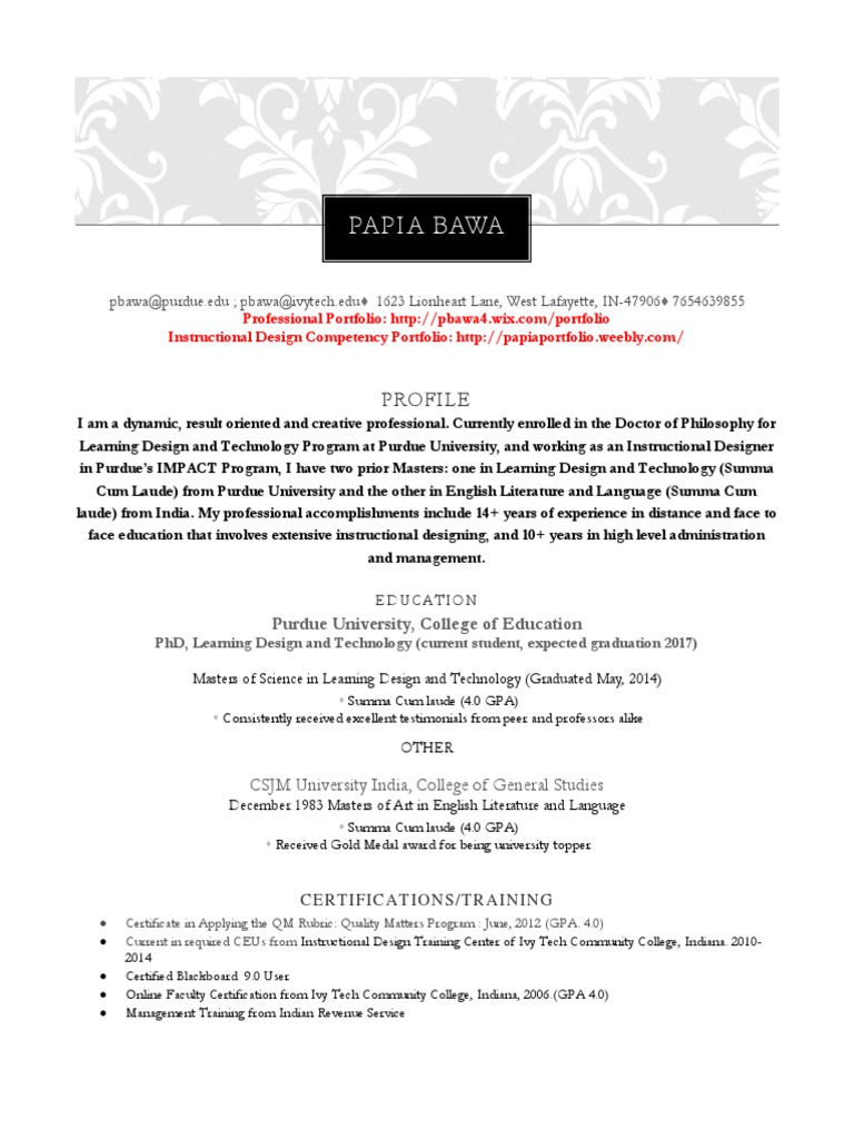 Papia Bawa Resume Instructional Design Educational Technology