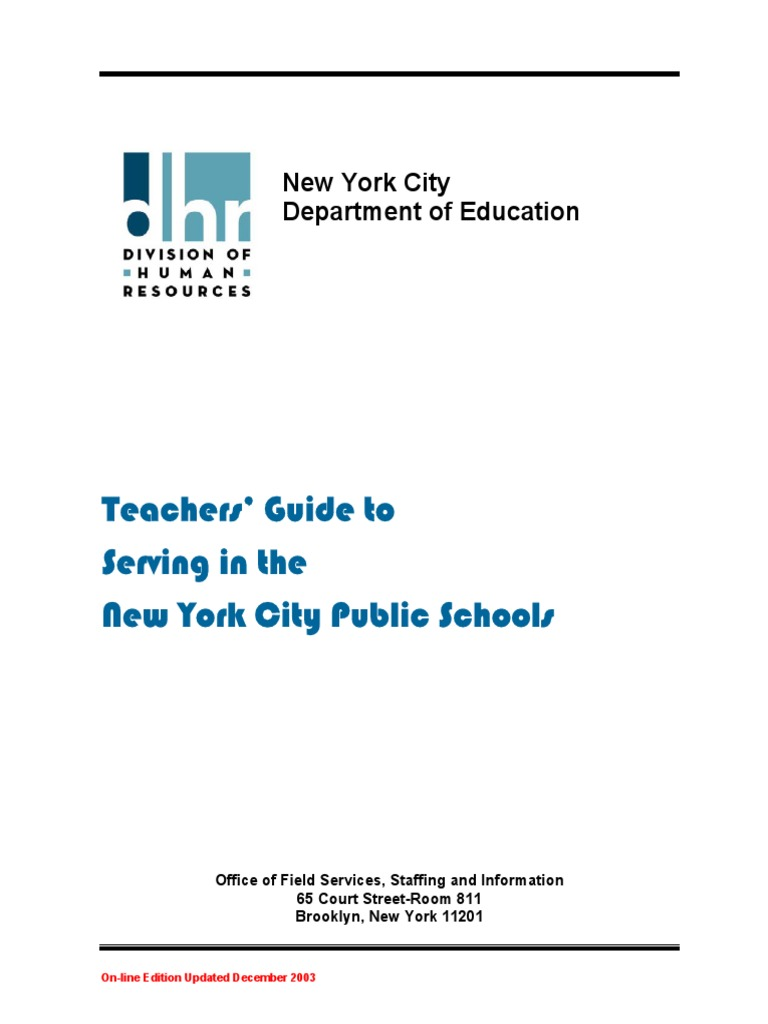 Teachers Guide To Serving In The Nyc Public Schools Academic