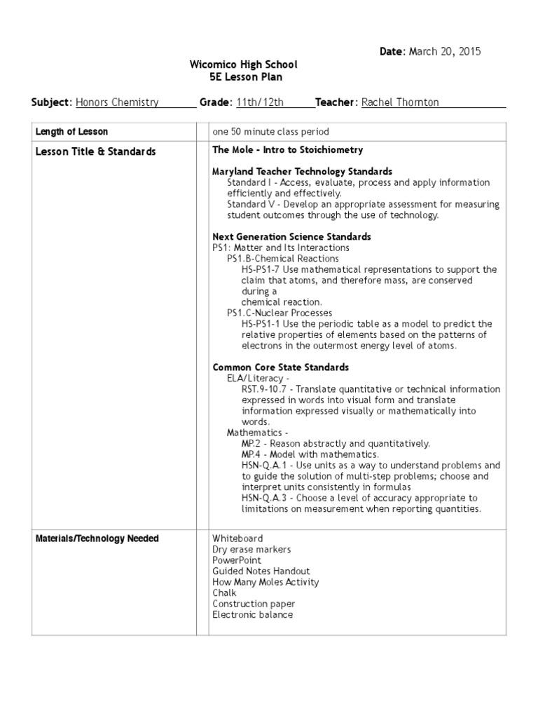 the mole lesson plan 3:23 pdf | Mole (Unit) | Lesson Plan