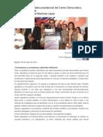 Ejemplo de Disiscurso Del Candidato Presidencial Del Centro Democrático