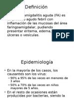 Faringoamigdalitis- Definicion y Epidemio