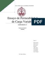 Ensayo de Permeabilidad de Carga Variable