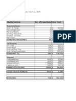 Media Plan Expense Spreadsheets