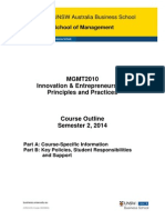 MGMT2010 Innovation and Entrepreneurship Principles and Practices S22014