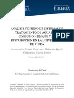 ANÁLISIS Y DISEÑO DE SISTEMAS DE TRATAMIENTO DE AGUA PARA CONSUMO HUMANO Y SU DISTRIBUCIÓN EN LA UNIVERSIDAD DE PIURA