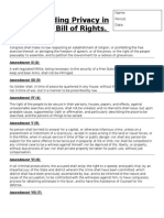 finding privacy in the bill of rights wokrsheet